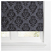 Damask Flock Lined Roman Blind 90x120cm Black