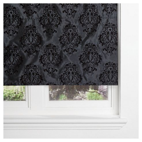 Damask Flock Lined Roman Blind 120x120cm Black