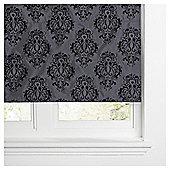 Damask Flock Lined Roman Blind 120x160cm Black