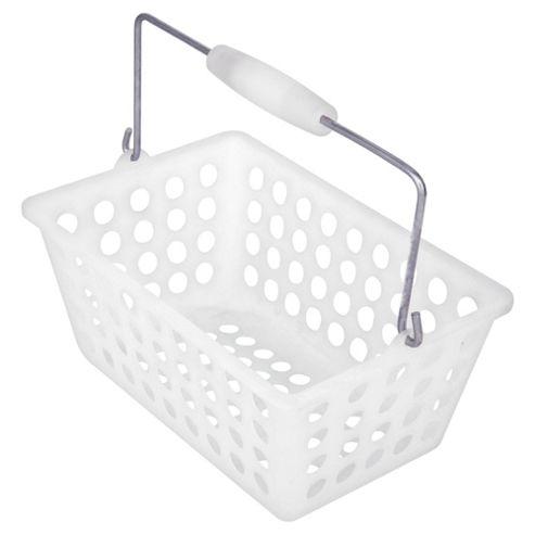 Tesco plastic storage basket caddy white
