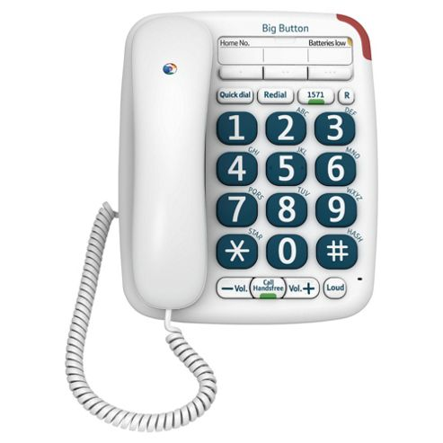 BT 200 Big Button Corded Telephone - White