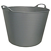 42L Plastic Flexi Tub with Handles - Silver