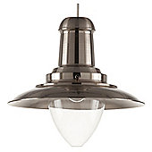 Tesco Lighting Fishermans Spun Metal Pendant Light, Black Nickel