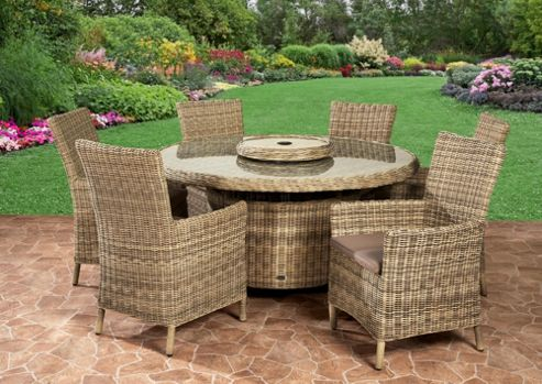 Royalcraft Sahara 6 Seater Carver Dining Set Natural Weave Effect