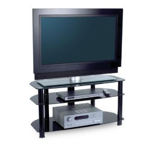 Alphason Sona Avcr42/3 3 Shelf Av Rack (Black Frame, Black Glass)