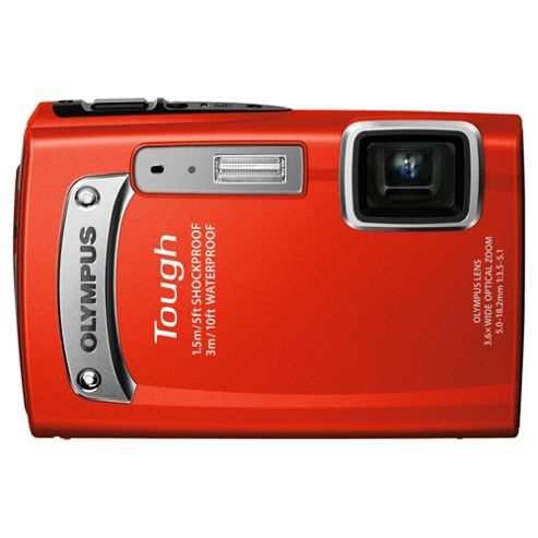 Olympus TG-320 Compact Digital Camera, Red, 14MP, 3.6x Optical Zoom, 2.7 inch LCD Screen