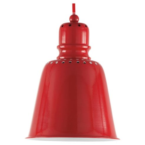 Tesco Lighting Betty Spun Metal Pendant Ceiling Light, Red