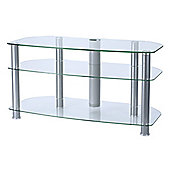 "Alphason 42"" Sona TV Stand with clear glass and silver legs - AVCR42"