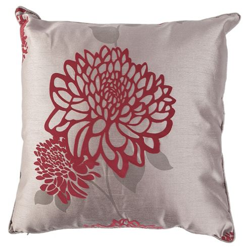 Tesco Cushions Amelia Flock Cushion, Claret / Pewter