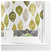 Watercolour Leaf Lined Roman Blind 90x120cm Green