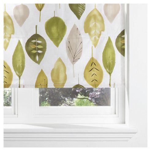Watercolour Leaf Lined Roman Blind 90x120cm Green