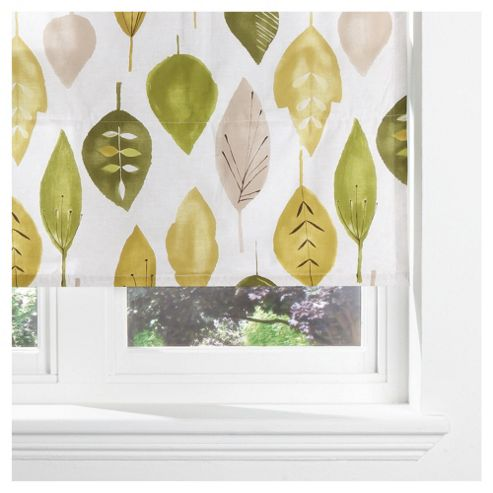Watercolour Leaf Lined Roman Blind 120x160cm Green