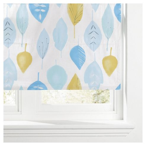 Watercolour Leaf Lined Roman Blind 90x120cm Soft Teal