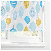 Watercolour Leaf Lined Roman Blind 120x120cm Soft Teal