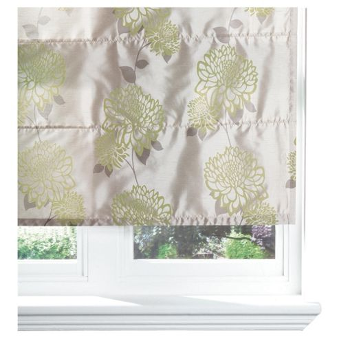 Amelia Flock Lined Roman Blind 120x120cm Green/Natural