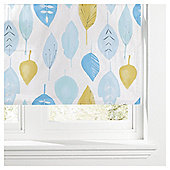 Watercolour Leaf Lined Roman Blind 180x120cm Soft Teal