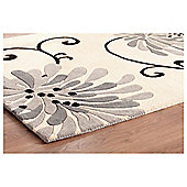 Tesco Rugs Chrysanthemum Rug Black / Charcoal 120x170cm