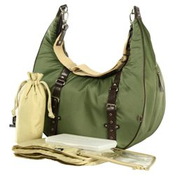 OiOi Burnt Olive Nylon Twill Hobo Slouch Changing Bag