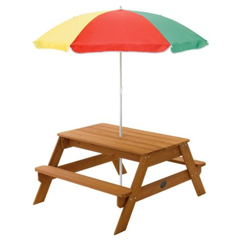 Plum Children's Rectangular Picnic Table with Parasol
