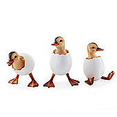 Set of Three Hatching Duckling Garden or Home Ornaments