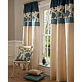 "Catherine Lansfield Clarissa Lined Pencil Pleat Curtains W167xL183cm (66x72""), Teal"