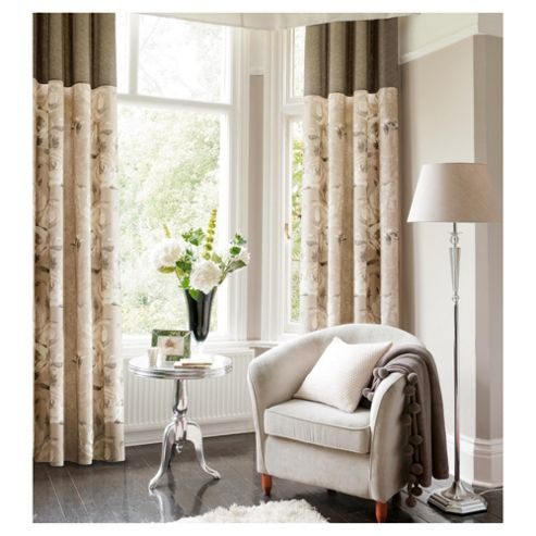 Catherine Lansfield Tea Rose Lined Pencil Pleat Curtains W167xL183cm (66x72