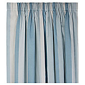 "Tesco Hampton Stripe Pencil Pleat Unlined Curtains W167xL137cm (66x54""), Duck Egg"