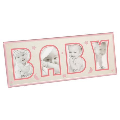 Glass Photo Frame With Cut Out Words - Baby Pink