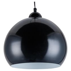 Tesco Lighting Skandia Metal Pendant, Black Gloss Finish