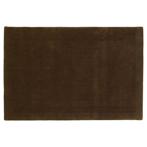 Tesco Rugs Plain Wool Rug Chocolate 160X230Cm