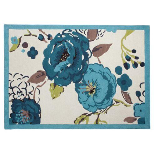 Tesco Rugs Jasmine Blossom Rug Soft Teal 120X170Cm