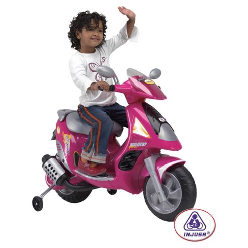 Injusa Duo 6V Ride-On Scooter With Helmet, Pink
