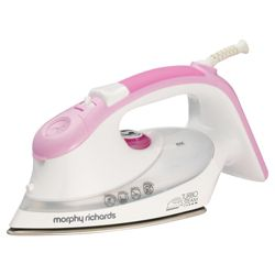 Morphy Richards 40636 turbo boost Iron with Stainless Steel Plate - White/Pink