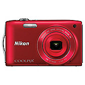 "Nikon S3300 Digital Camera 2.7"" LCD, Red"