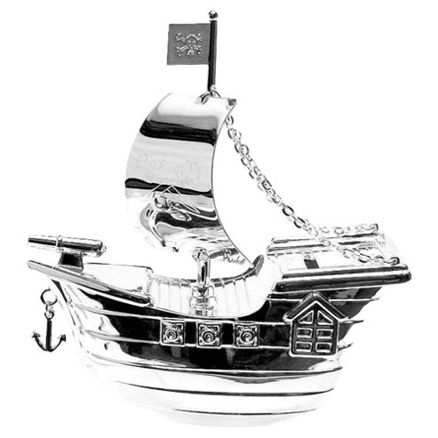 Silver Plated Money Box - Pirate Ship