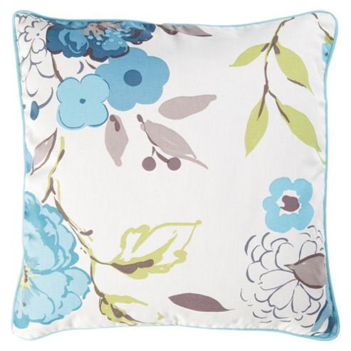 Tesco Cushions Jasmine Blossom Cushion, Soft Teal