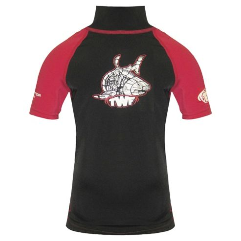 TWF UV Rash Vest Kids' Black/Red Small