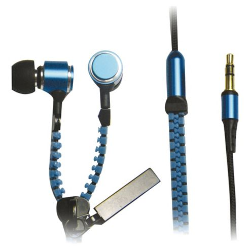 iCandy Zippa Earphones With Microphone Blue
