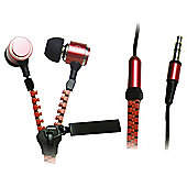 iCandy Zippa Earphones With Microphone Red