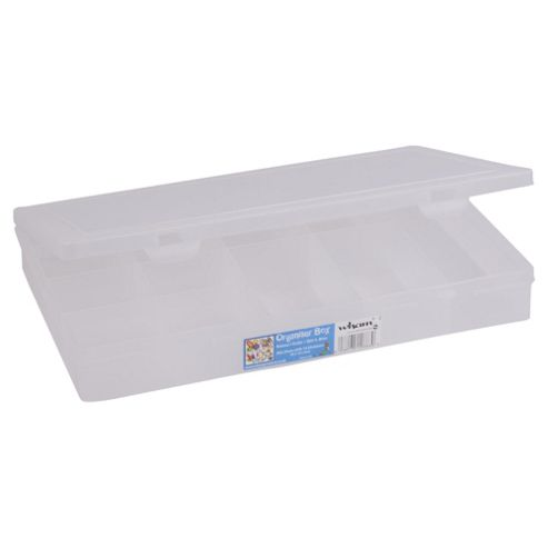Wham Large Plastic Organiser with Dividers, Clear