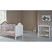 OBaby B is for Bear Cot Bed & Open Changer (White with Pine Trim)