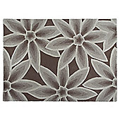 Tesco Rugs 3D Textured Floral Rug Chocolate / Natural 120X170Cm