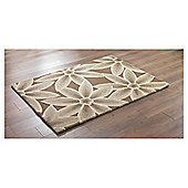 Tesco Rugs 3D Textured Floral Rug Chocolate / Natural 150X240Cm
