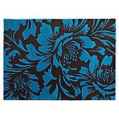 Tesco Rugs Floral Accents Rug Teal / Dark Choc 120X170Cm