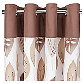 Tesco Watercolour Leaf Lined Eyelet Curtains - Natural