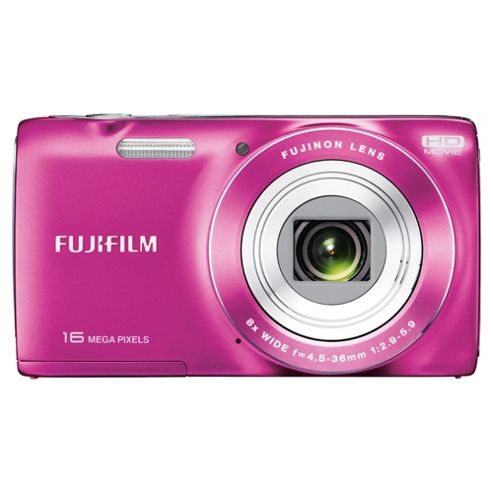 Fuji JZ200 Digital Camera, Pink, 16MP, 8x Optical Zoom, 2.7 inch LCD Screen