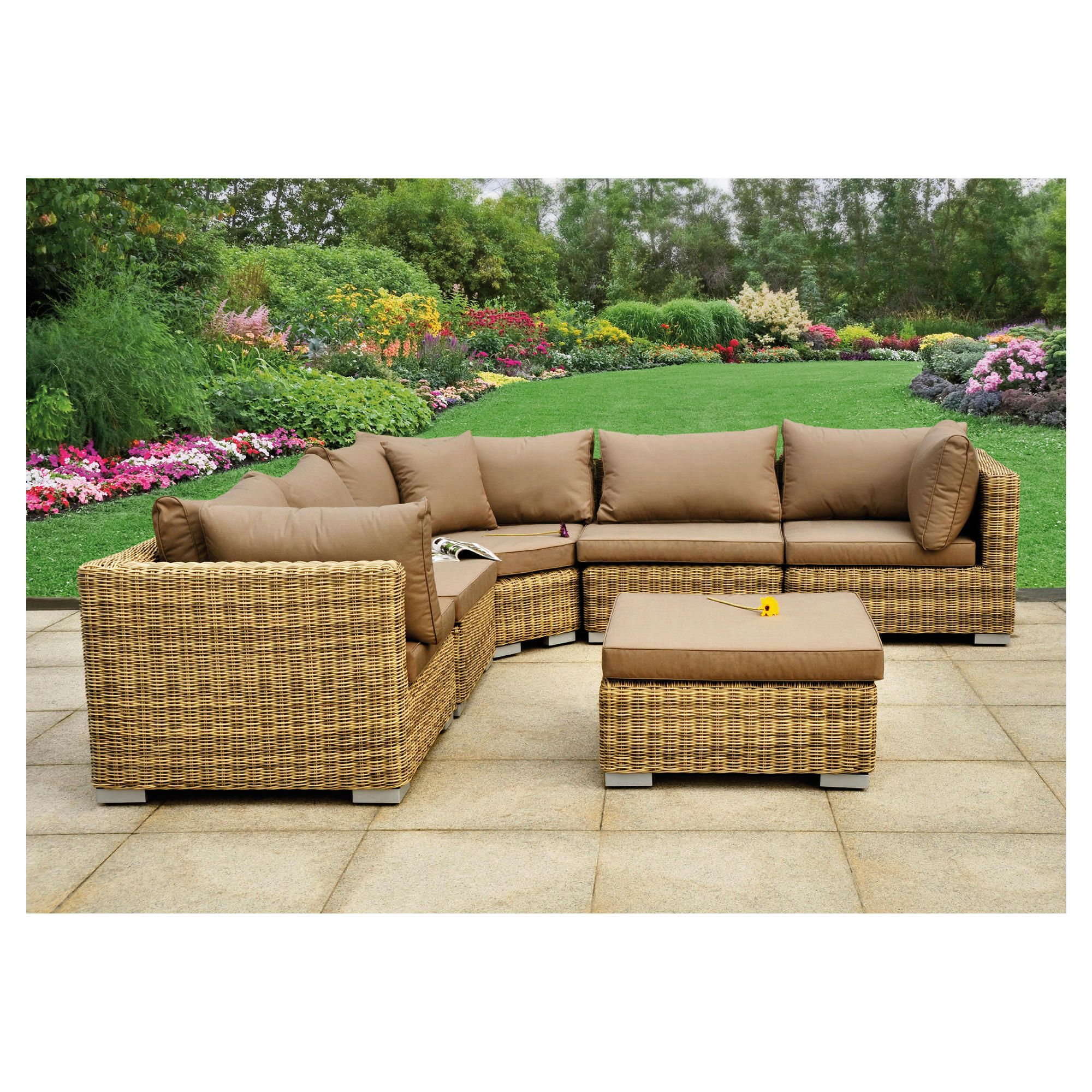 Royalcraft Modena 6 Piece Modular Sofa Set - Natural Weave Look at Tesco Direct