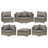 Royalcraft Modena 6 Piece Modular Sofa Set - Natural Weave Look