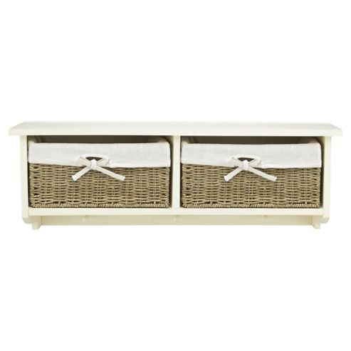 Tesco Storage Bench with Wicker Baskets, Cream