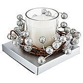 Tesco Christmas Wreath Candle Small Silver